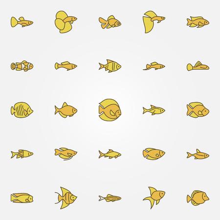 Aquarium fish colorful icons Illustration