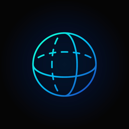 Blue volume sphere outline icon