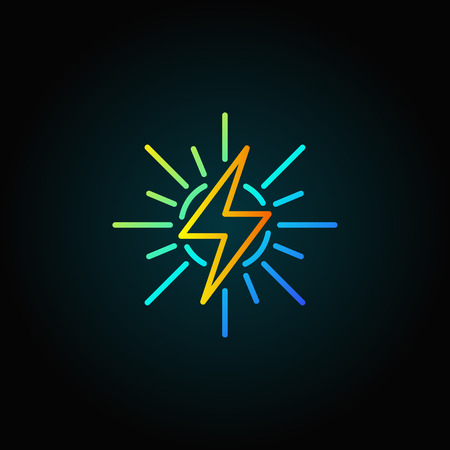 Solar energy outline colorful icon Illustration