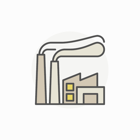 Fabriek kleurrijk pictogram Stock Illustratie
