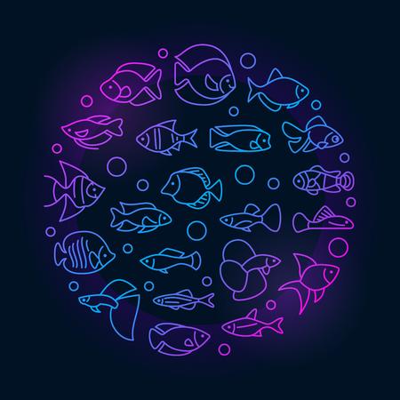 Aquarium fish colorful illustration Illustration