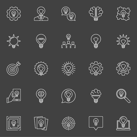 to contemplate: Thin line idea icons Illustration