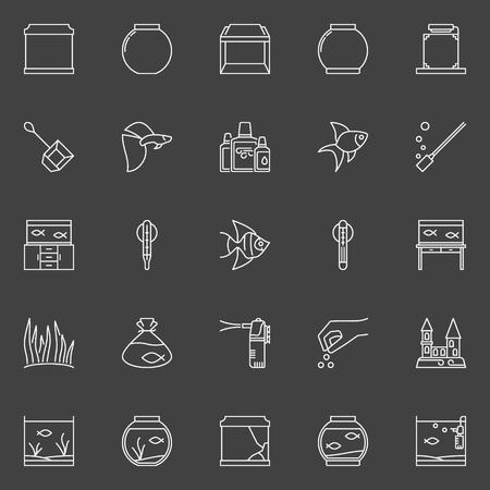 Fish and aquarium icons Illustration