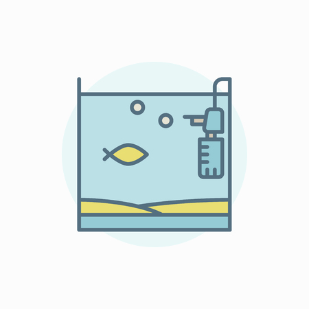 Home fish tank colorful icon