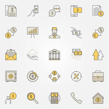 house exchange: Loan colorful icons Illustration