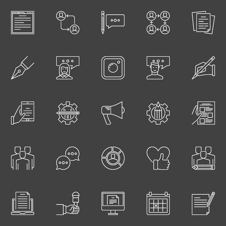 review: Social media and blog concept icons