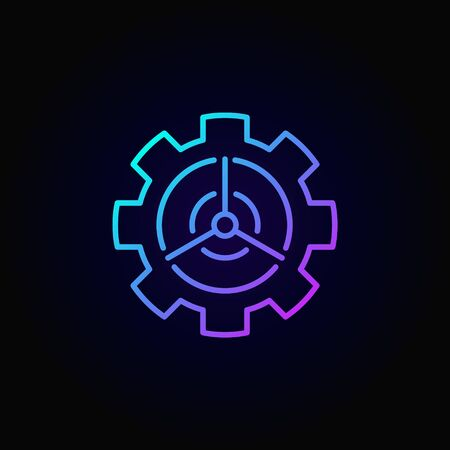 Wind energy in gear concept colorful icon Stock Photo