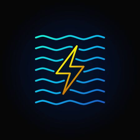 hydroelectricity: Hydroelectricity minimal colorful icon