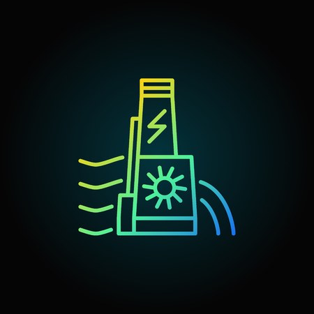 hydroelectric: Hydroelectric dam colorful icon Illustration