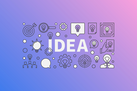 Idea modern illustration - vector creative banner made with word IDEA and bulb icons