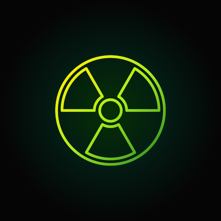 radioactive sign: Radiation outline green icon