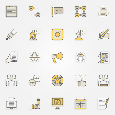 smart man: Blog and blogger colorful icons Illustration
