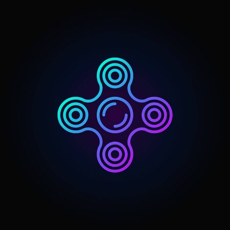 Fidget spinner blue icon