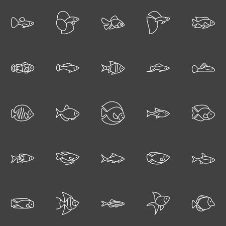 Aquarium fish line icons