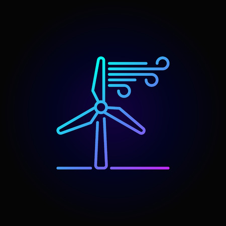 Wind energy linear colorful icon Illustration