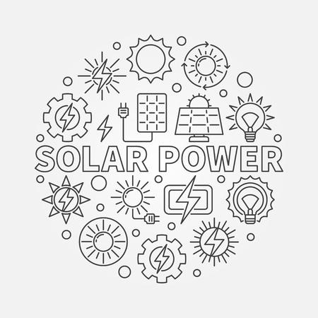 Okrągła ilustracja energii słonecznej