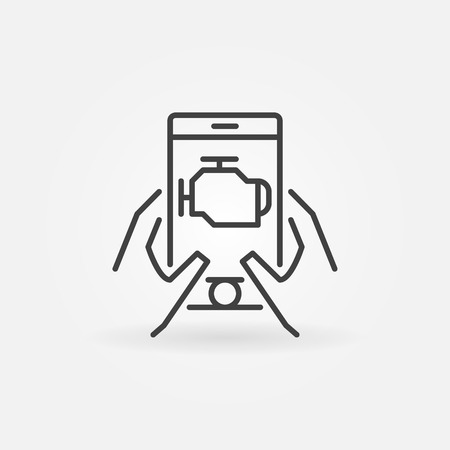 Car engine diagnostics via smart-phone vector icon or design element in thin line style
