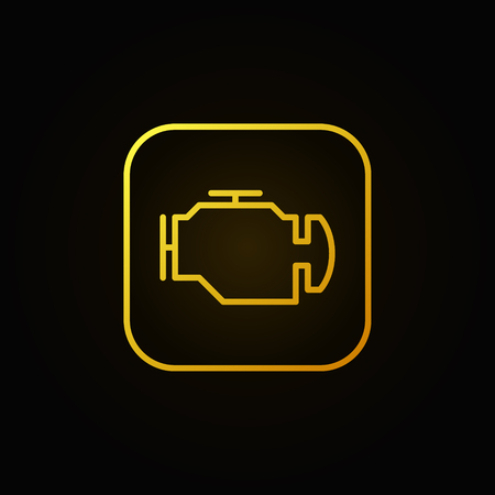Check engine yellow icon - vector car diagnostic concept sign or logo element on dark background
