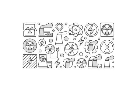 ilustración nuclear de la energía nuclear hecho con la planta nuclear de energía y radiación iconos en el fondo blanco. ilustración . Ilustración de vector