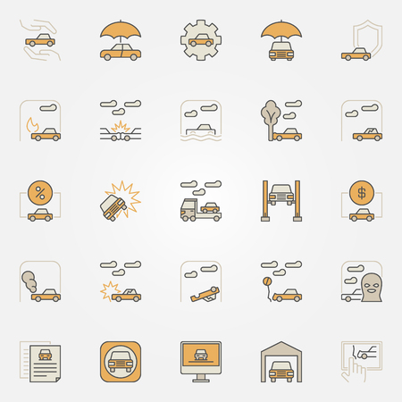 Car insurance colorful icons. Vector collection of auto insurance creative signs or design elements