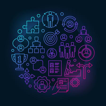 Werkgelegenheid en rekrutering kleurrijke illustratie