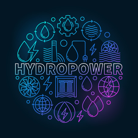 Hydropower round colorful illustration 向量圖像