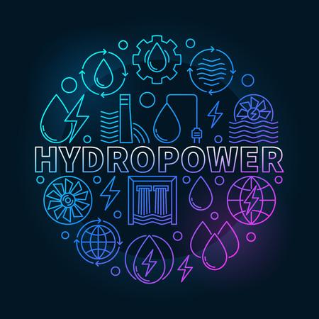 Hydropower round colorful illustration Illustration