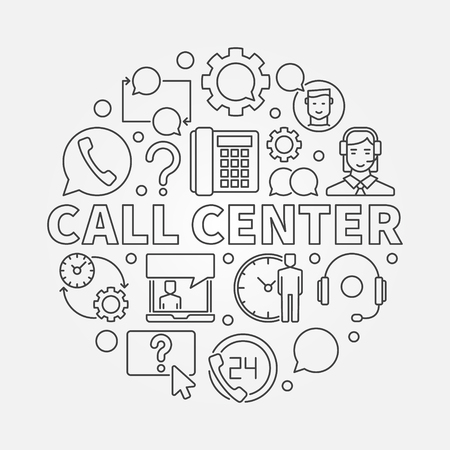 questions: Call Center round illustration. Vector customer service concept