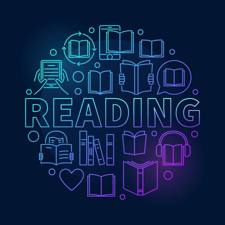 Reading round colorful illustration