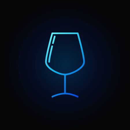 Wine glass simple blue icon