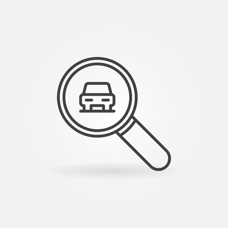 Car in magnifying glass outline icon