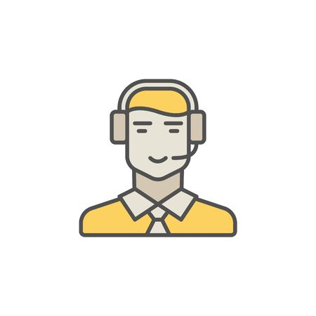 Call center operator colorful icon. Vector man in headset creati