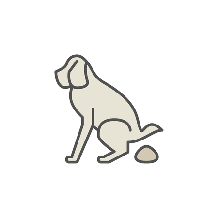Dog pooping colorful icon