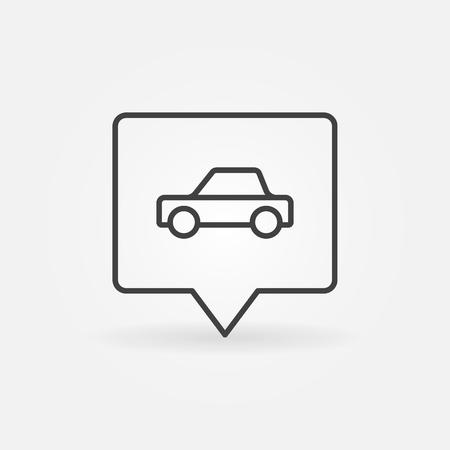 Car in square pin Illustration