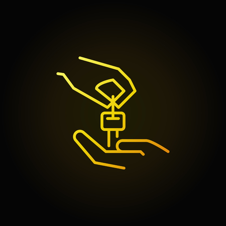 Hands with car key yellow icon