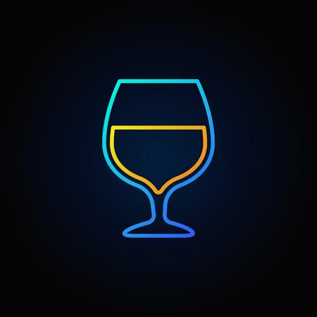 Cognac glass blue icon Illustration