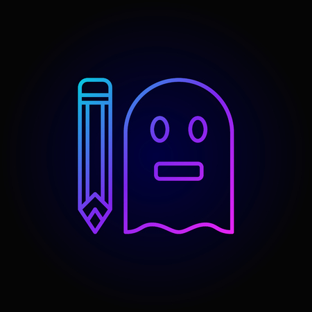 Colorful ghostwriter outline concept icon. Vector ghost with pencil sign in thin line style on dark background