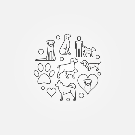 Cute round illustration with dog icons
