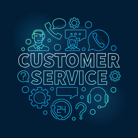 questions: Blue customer service round illustration - vector customer support and care concept circular linear symbol on dark background