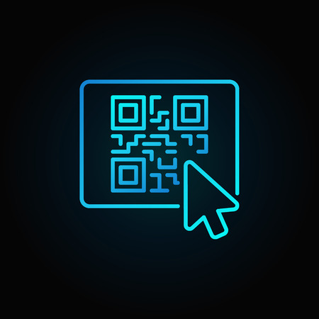 Mouse click on button with QR code vector blue line icon or logo element on dark background