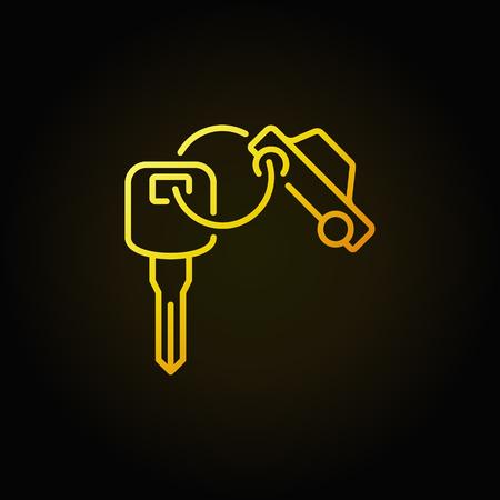 Icono colorido del anillo de la llave del coche - vector el signo creativo amarillo o elemento del logotipo en fondo oscuro
