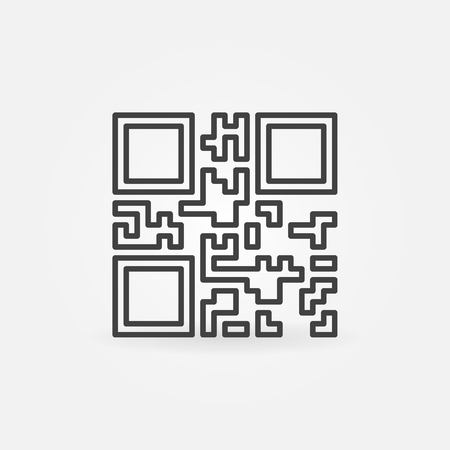 Vector QR Code icon or symbol in line style