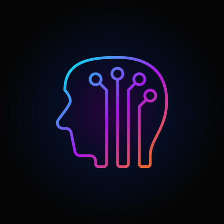human evolution: Human head with digital brain colorful icon - vector artificial intelligence outline sign or logo element on dark background