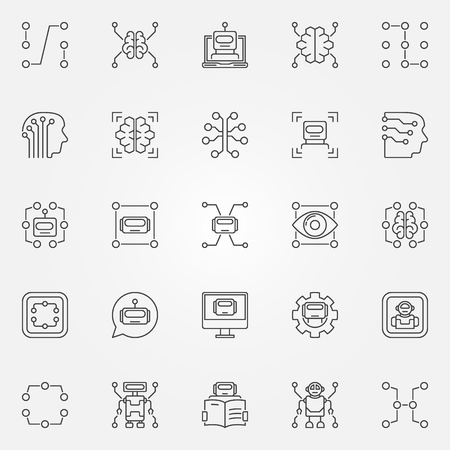 device: Machine learning icons set. Vector artificial intelligence and other technology concept symbols or design elements in thin line style