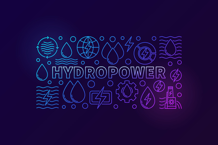 Hydropower creative banner. Vector renewable energy concept illustration made with outline water icons on dark background 向量圖像