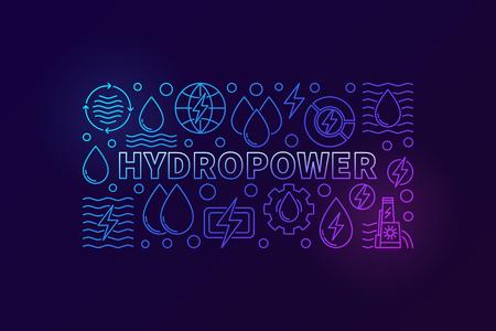 Kreatives Banner der Wasserkraft. Vector die Konzeptillustration der erneuerbaren Energie, die mit Entwurfswasserikonen auf dunklem Hintergrund gemacht wird Standard-Bild - 87470804