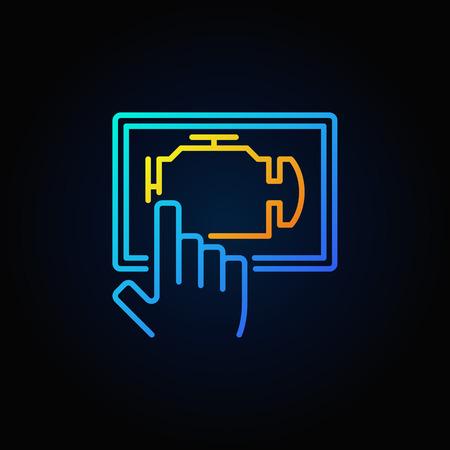 device: Blue car engine diagnostics via tablet vector outline icon or logo element on dark background