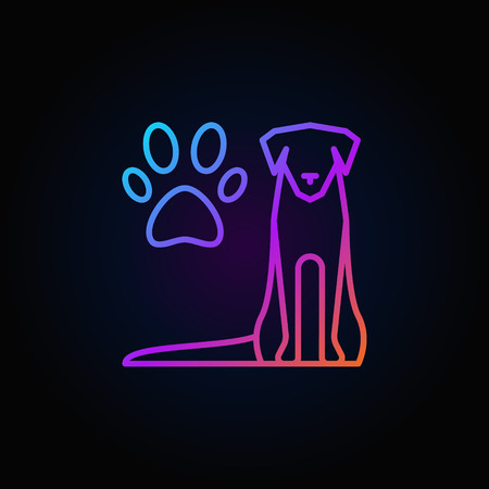 head protection: Dog with paw print colorful icon - vector veterinary clinic outline logo element on dark background Illustration