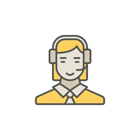 Colorful call center operator icon. Vector woman in headset creative symbol on white background