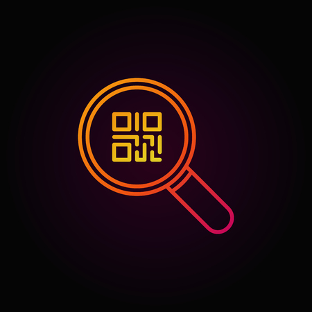 Colorful QR code in magnifying glass icon or symbol in thin line style on dark background Illustration